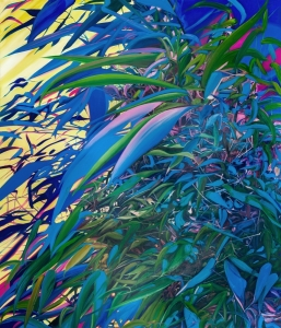 Blue Bamboo, 2018, oil on canvas, 69 x 69 cm